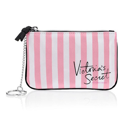 Victoria's Secret Pink And White Striped Makeup Bag