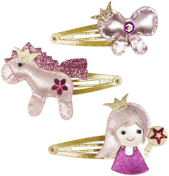 Lily & Momo Princess Trio Hair Clip - Shiny Pink - 1 ct.