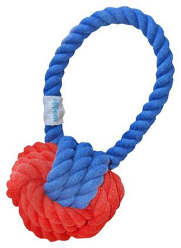 Waggo Have a Ball Rope Toy - Navy & Red - Regular