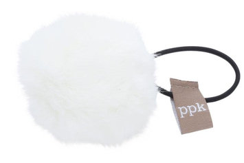 Peppercorn Kids Fur Pom Pom Hair Tie - White