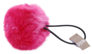 Peppercorn Kids Fur Pom Pom Hair Tie - Hot Pink
