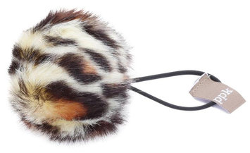 Peppercorn Kids Fur Pom Pom Hair Tie - Natural Leopard