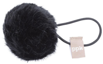 Peppercorn Kids Fur Pom Pom Hair Tie - Black