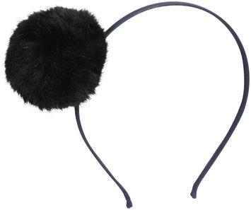 Peppercorn Kids Fur Pom Pom Headband - Black