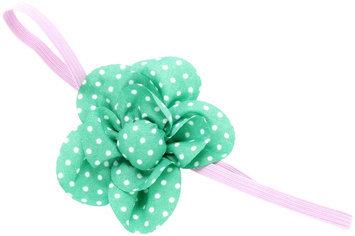 Peppercorn Kids Polka Dot Flower Stretch Headband - Green - 1 ct.