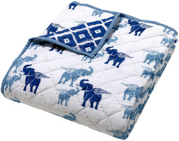 Masala Moksha Reversible Quilt- Flying Elephant, Blue