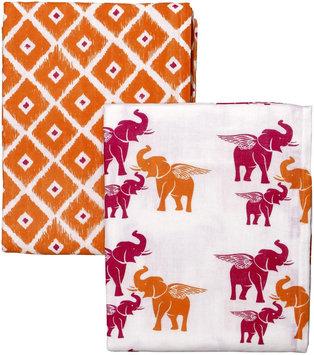 Masala Swaddle Wraps - 2pk set - Flying Elephant- Orange