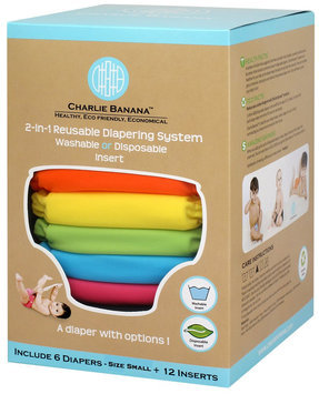 Charlie Banana 6 Diapers 12 Inserts Set Tutti Frutti Small