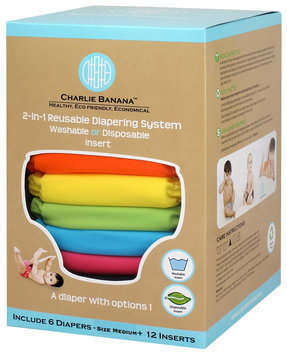 Charlie Banana 6 Diapers 12 Inserts Set Tutti Frutti Medium
