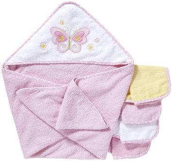 Spasilk Hooded Towel Set w 4 washcloths -Pink Butterfly