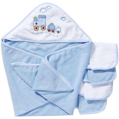 Spasilk Hooded Towel Set w 4 washcloths -Blue Train