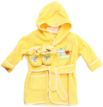 SpaSilk Baby Size 0-9M Ark Hooded Terry Bathrobe and Booties Set in Yellow