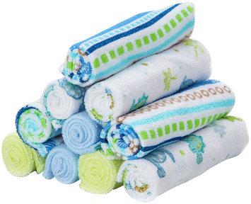 Spasilk 10 pack Soft Terry Washcloth- Blue Stripes - 1 ct.
