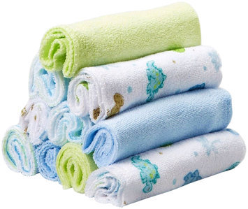 Spasilk 10 pack Soft Terry Washcloth- Blue Dino