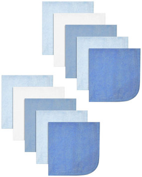 Spasilk 10 pack Soft Terry Washcloth- Solid Blue