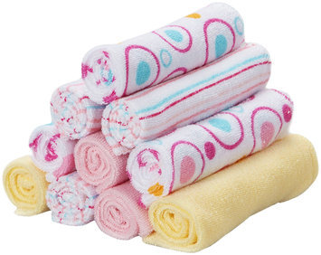 Spasilk 10 pack Soft Terry Washcloth- Pink Circles - 1 ct.
