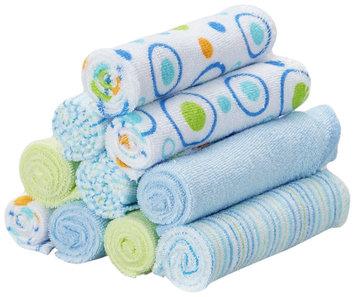SpaSilk 10 Count Washcloths - Blue Circles