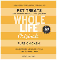 Whole Life Freeze Dried Treats For Dogs, Chicken, 10 oz