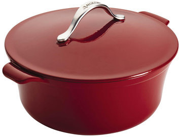 Anolon Vesta 7-Quart Round Cast Iron Covered Casserole, Paprika Red