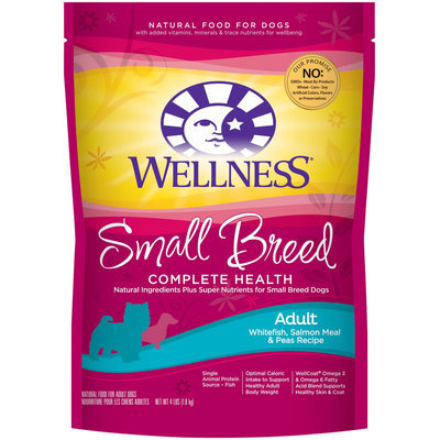 Wellness Small Breed Complete Health Whitefish, Salmon & Peas Adult Dog Food, 4 lbs.