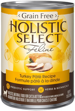 Holistic Select Natural Grain-Free Wet Canned Cat Food - Turkey Pate Recipe - 24x5.5oz