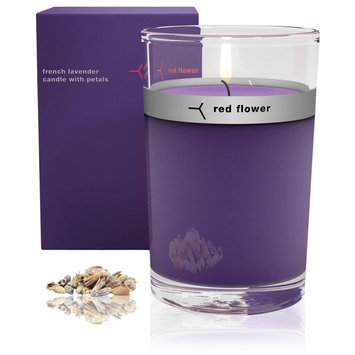 Red Flower French Lavender Petal Topped Candle