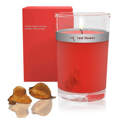 Red Flower Italian Blood Orange Petal Top Candle 6oz