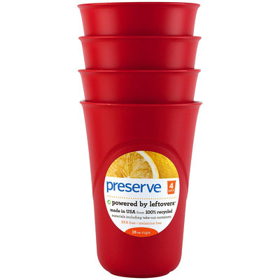 Preserve Everyday Cup, 16oz 4pk, Pepper Red