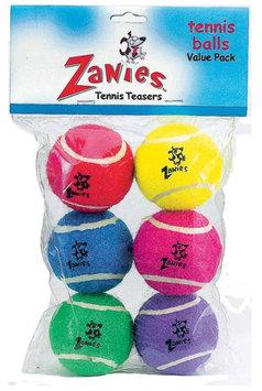 Pet Pals ZW25506 Zanies Tennis Balls 2.5 In 6-Pkg Asst Colors