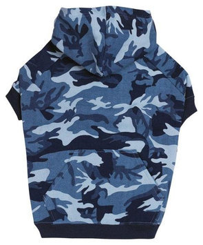 Casual Canine Camo Dog Hoodie Blue Extra Large