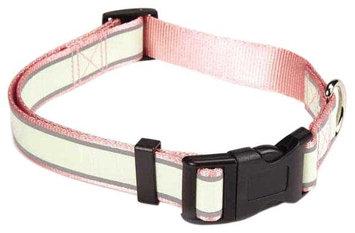 Pet Edge Dealer Services Casual Canine Glow Nylon Dog Collar 10-16 PNK