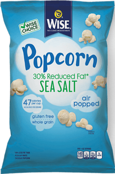 Wise Air Popped Gluten Free Whole Grain 30% Reduce Fat Sea Salt Popcorn