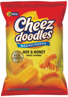 Wise Cheez Doodles Puffed Hot 'n Honey Cheese Flavored Baked Corn Snacks