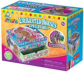 The Orb Factory Sticky Mosaics Sticky Mosaics Enchanted Horses Jewelry Box