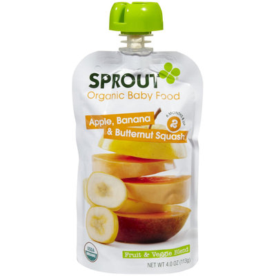 Sprout Stage 2 Fruit & Veggie Blends - Apple Banana & Butternut Squash - 4 oz - 1 ct.
