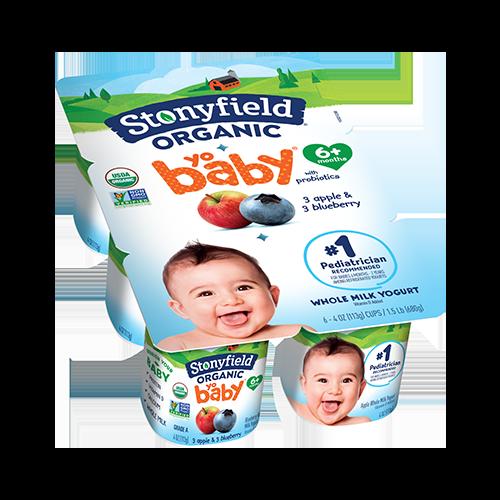 Stonyfield Organic YoBaby Blueberry / Apple Whole Milk Yogurt