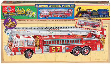 T.S. Shure Vehicles Jumbo Wooden Puzzles in a Wooden Box (3 Puzzles) - 1 ct.