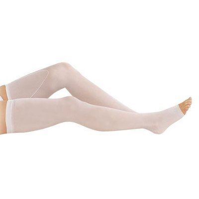 Truform Anti-Embolism Thigh High Open-Toe Stockings, White, LG
