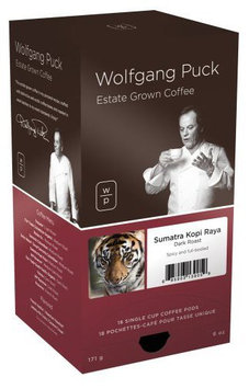Wolfgang Puck Coffee, Sumatra Kopi Raya, Dark Roast, 18 ct Pods, 3 pk