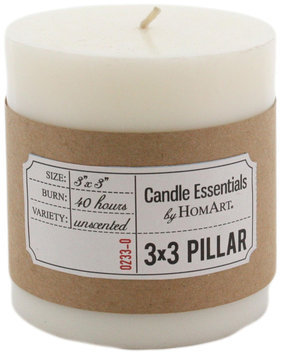 HomArt Pillar Paraffin Wax Candle, 3-Inch by 3-Inch, Ivory