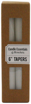 HomArt Unscented Taper Wax 6-Inch Candles, Ivory, 4-Pack