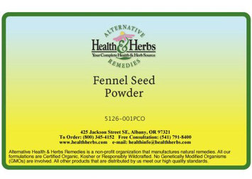 Alternative Health & Herbs Remedies Fennel Seed Powder Co, 1 lb Bag