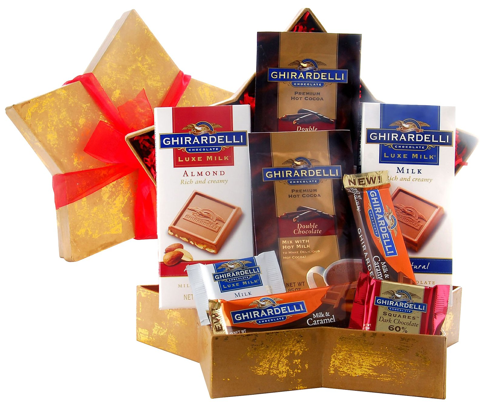 Wine.com Stellar Ghirardelli Chocolate Assortment Star Shaped Gift Box
