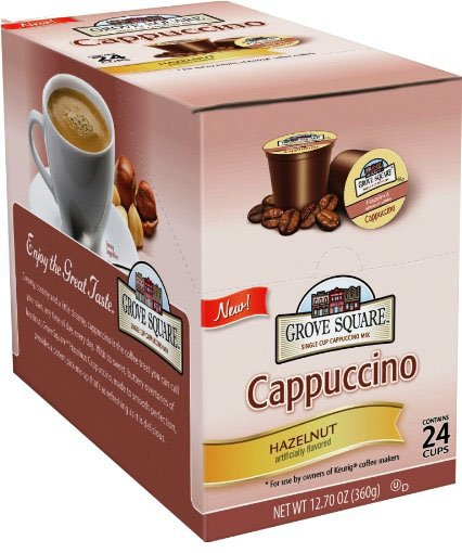 Grove Square Cappuccino Single Serve Cappuccino Cups, Hazelnut, K-Cups for Keurig Brewers, 24 ct