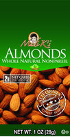 Madi K's Whole Natural Almonds, 1 oz Bags, 48 pk
