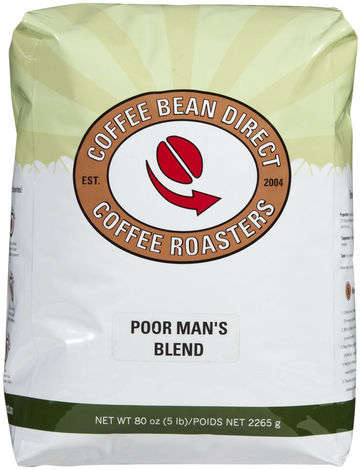 Coffee Bean Direct Poor Man's Blend, Whole Bean Coffee, 5 lb bag