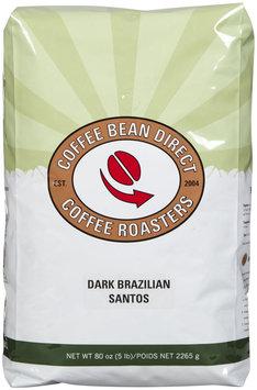 Coffee Bean Direct Dark Brazilian Santos, Whole Bean Coffee, 5 lb bag
