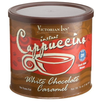 Victorian Inn Instant Cappuccino, White Chocolate Caramel, 16 oz Canisters, 6 pk