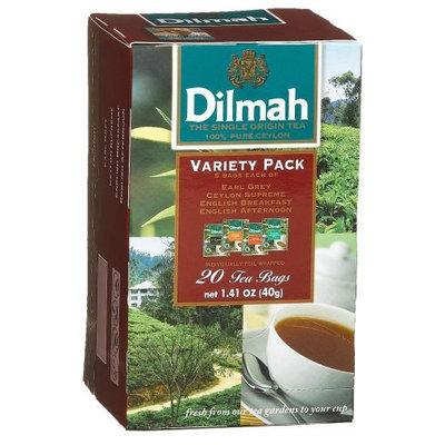 Dilmah Tea Gourmet Variety Pack, Earl Grey/Ceylon/English Breakfast/English Afternoon, 20 ct, 6 pk