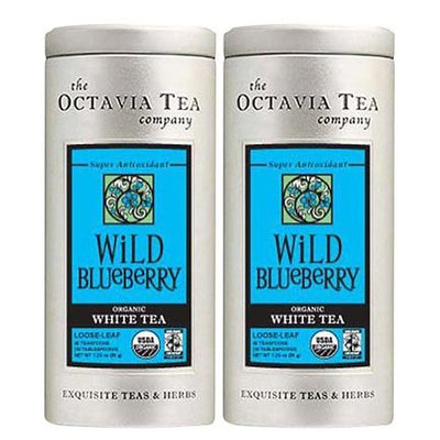 Octavia Tea Wild Blueberry, White Tea, Loose Leaf, 1.23 oz, 2 pk